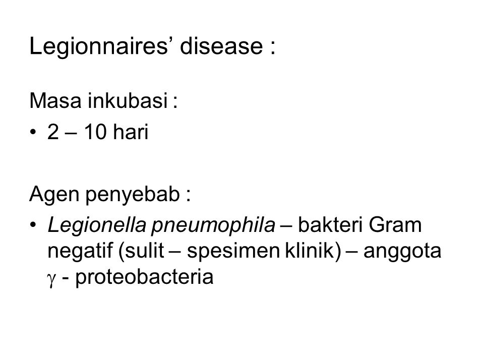 Legionnaires' disease :