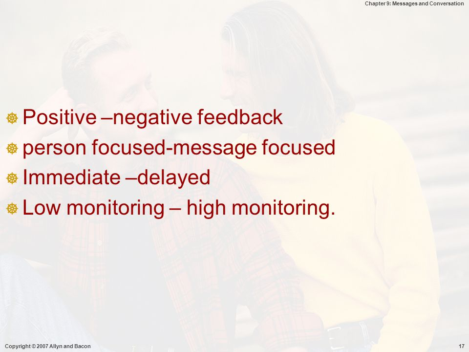 Positive –negative feedback person focused-message focused