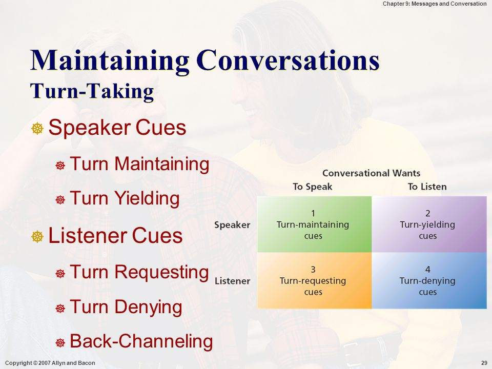 Maintaining Conversations Turn-Taking
