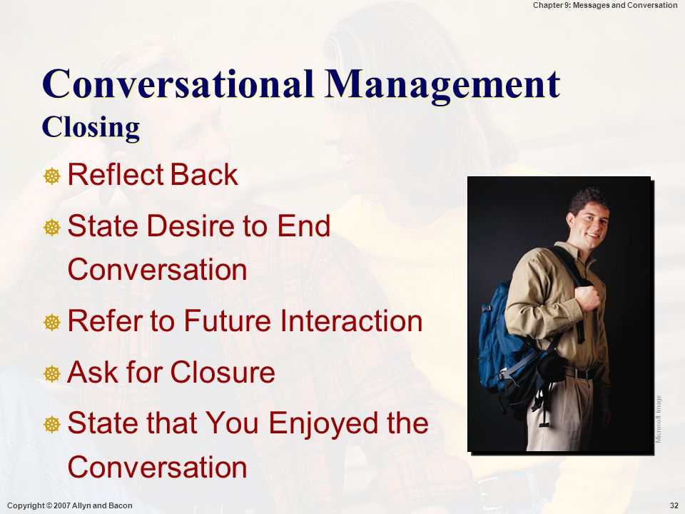 Conversational Management Closing