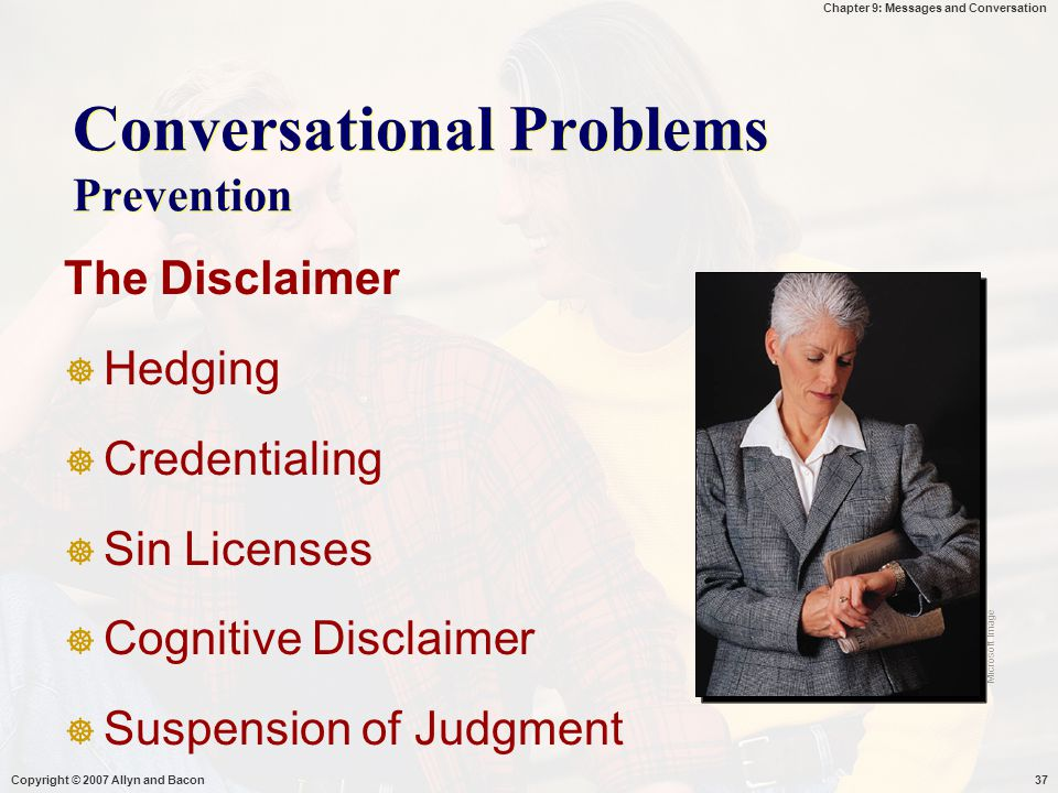Conversational Problems Prevention