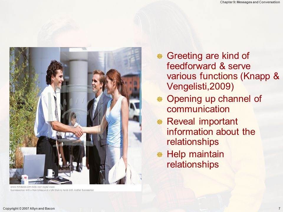 Opening up channel of communication