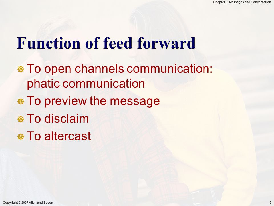 Function of feed forward