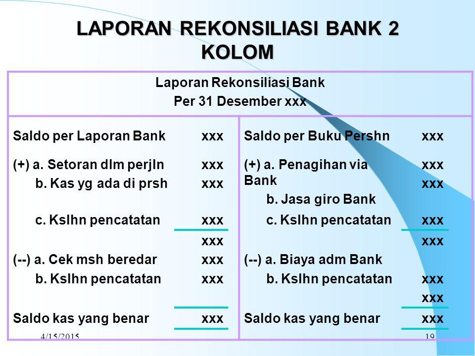 LAPORAN REKONSILIASI BANK 2 KOLOM