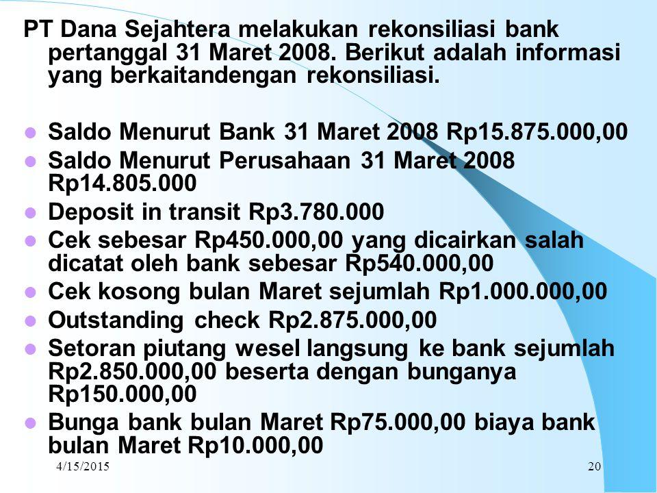 Saldo Menurut Bank 31 Maret 2008 Rp15.875.000,00
