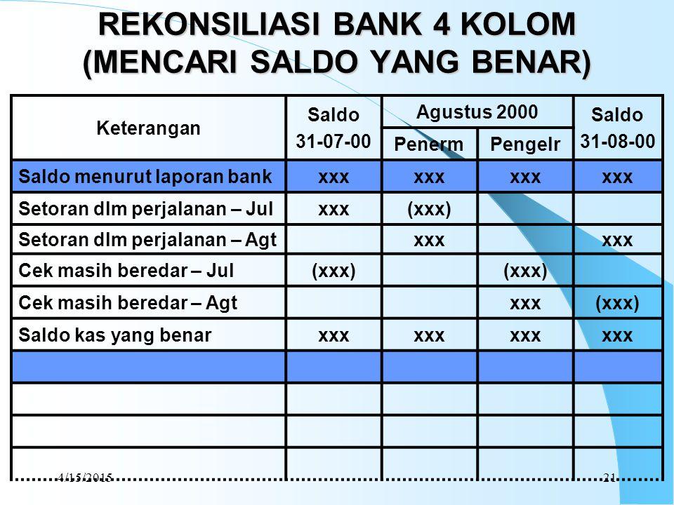 REKONSILIASI BANK 4 KOLOM (MENCARI SALDO YANG BENAR)