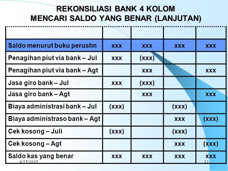 REKONSILIASI BANK 4 KOLOM MENCARI SALDO YANG BENAR (LANJUTAN)