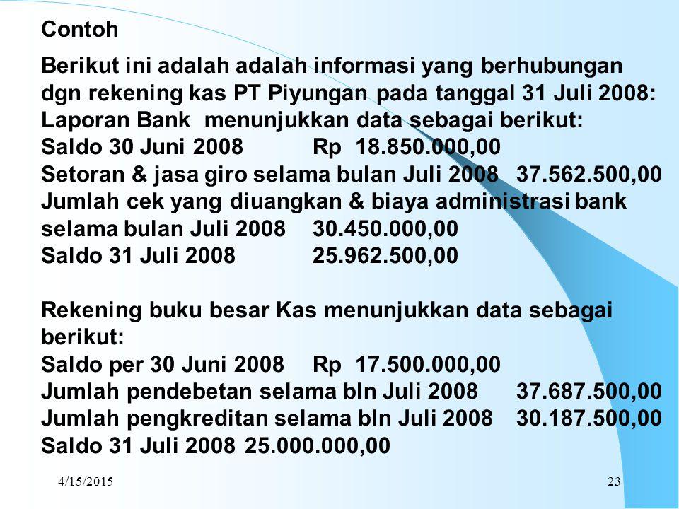 Laporan Bank menunjukkan data sebagai berikut: