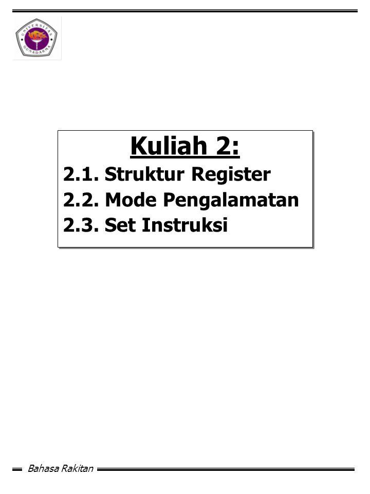 Kuliah 2: 2.1. Struktur Register 2.2. Mode Pengalamatan
