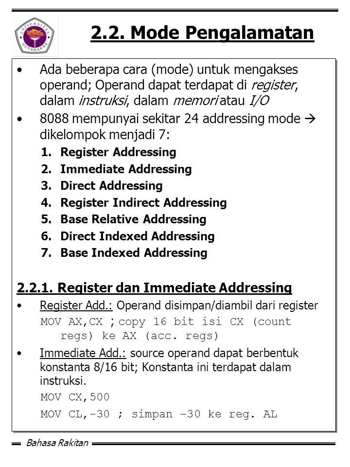 2.2. Mode Pengalamatan Ada beberapa cara (mode) untuk mengakses operand; Operand dapat terdapat di register, dalam instruksi, dalam memori atau I/O.