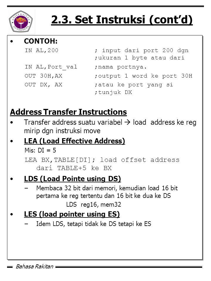 2.3. Set Instruksi (cont'd)