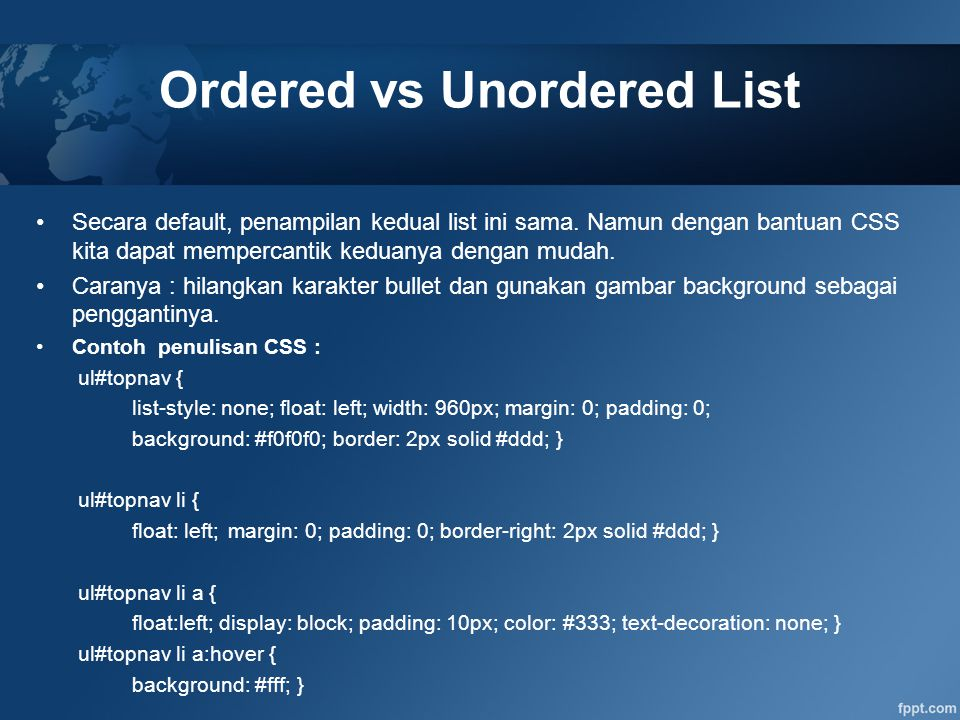 Ordered vs Unordered List