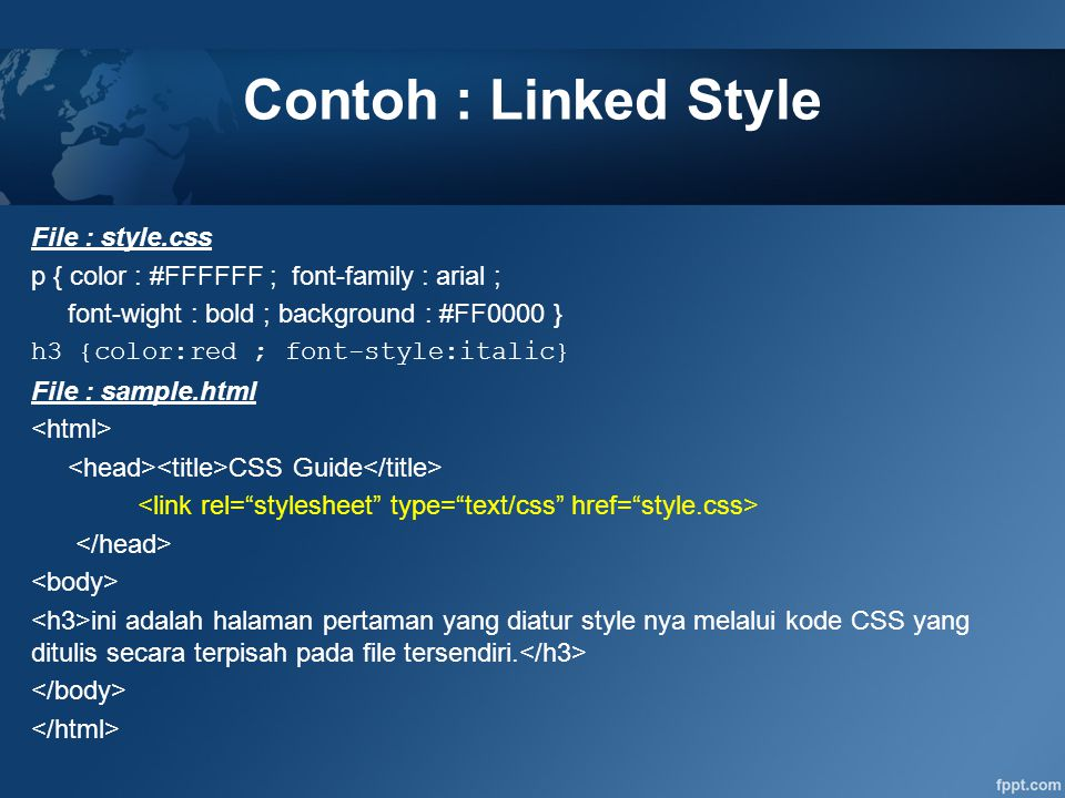 Contoh : Linked Style