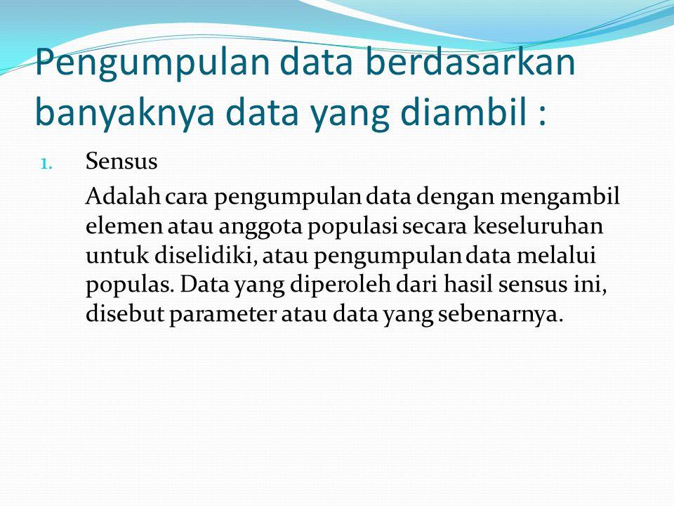 Pengumpulan data berdasarkan banyaknya data yang diambil :