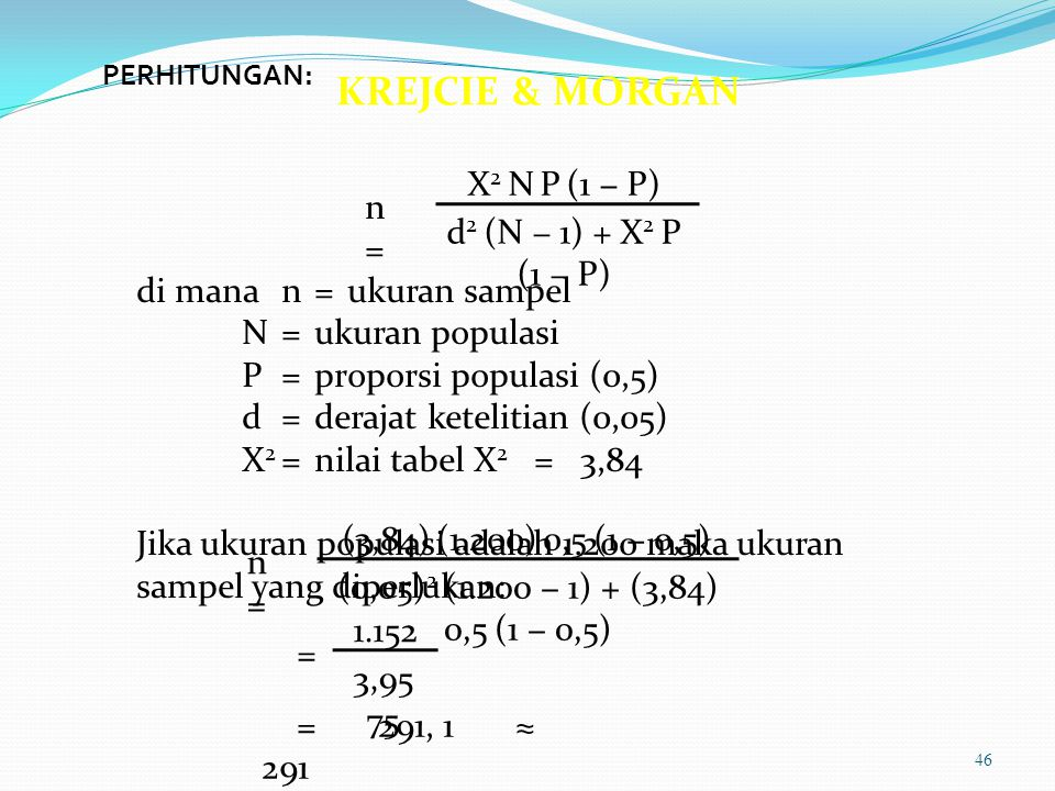 KREJCIE & MORGAN X2 N P (1 − P) n = d2 (N − 1) + X2 P (1 − P)