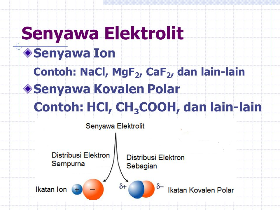 Senyawa Elektrolit Senyawa Ion Contoh: NaCl, MgF2, CaF2, dan lain-lain