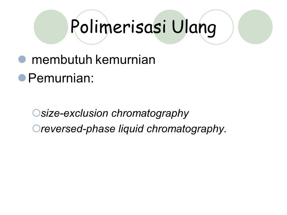 Polimerisasi Ulang membutuh kemurnian Pemurnian: