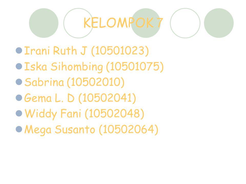 KELOMPOK 7 Irani Ruth J (10501023) Iska Sihombing (10501075)