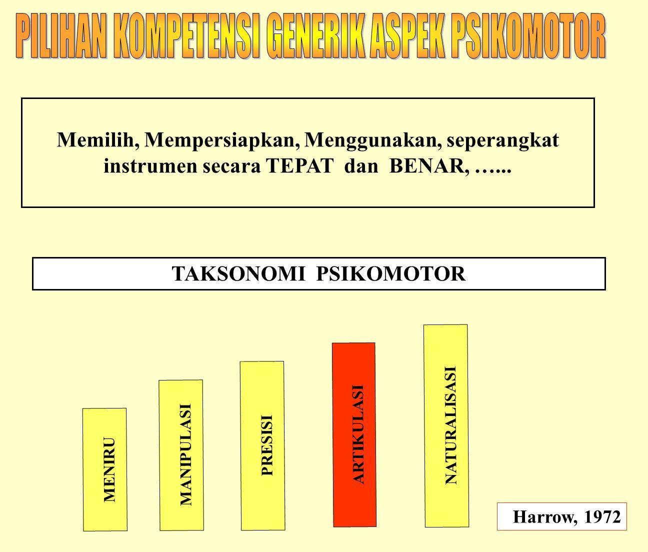 PILIHAN KOMPETENSI GENERIK ASPEK PSIKOMOTOR