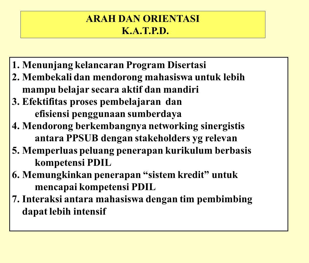 ARAH DAN ORIENTASI K.A.T.P.D. 1. Menunjang kelancaran Program Disertasi. 2. Membekali dan mendorong mahasiswa untuk lebih.