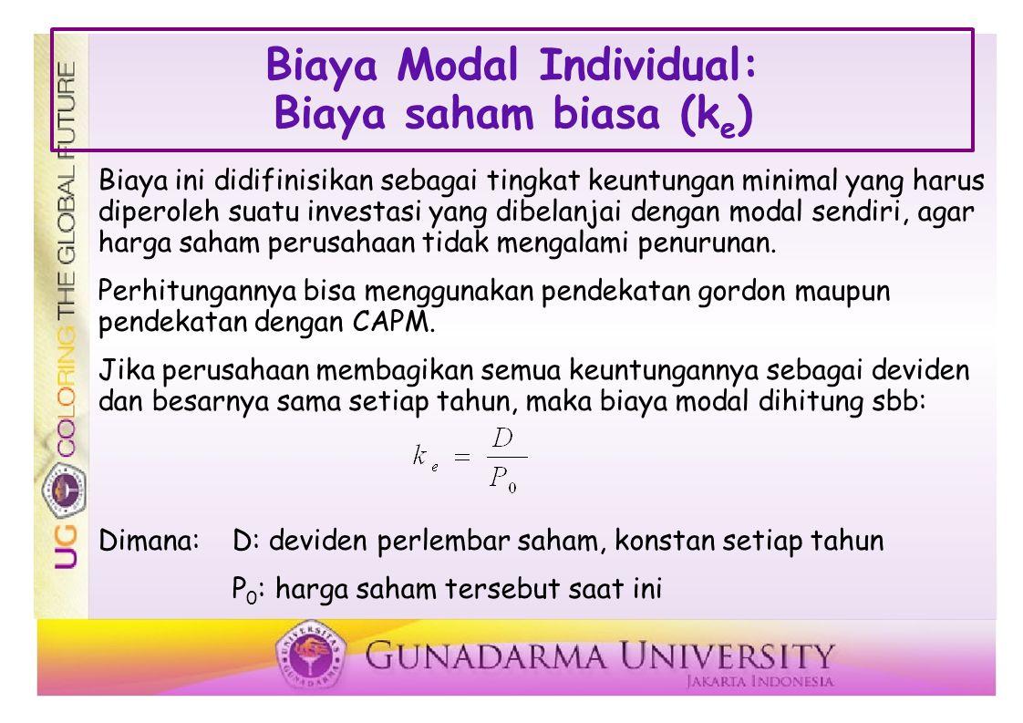 Biaya Modal Individual: Biaya saham biasa (ke)