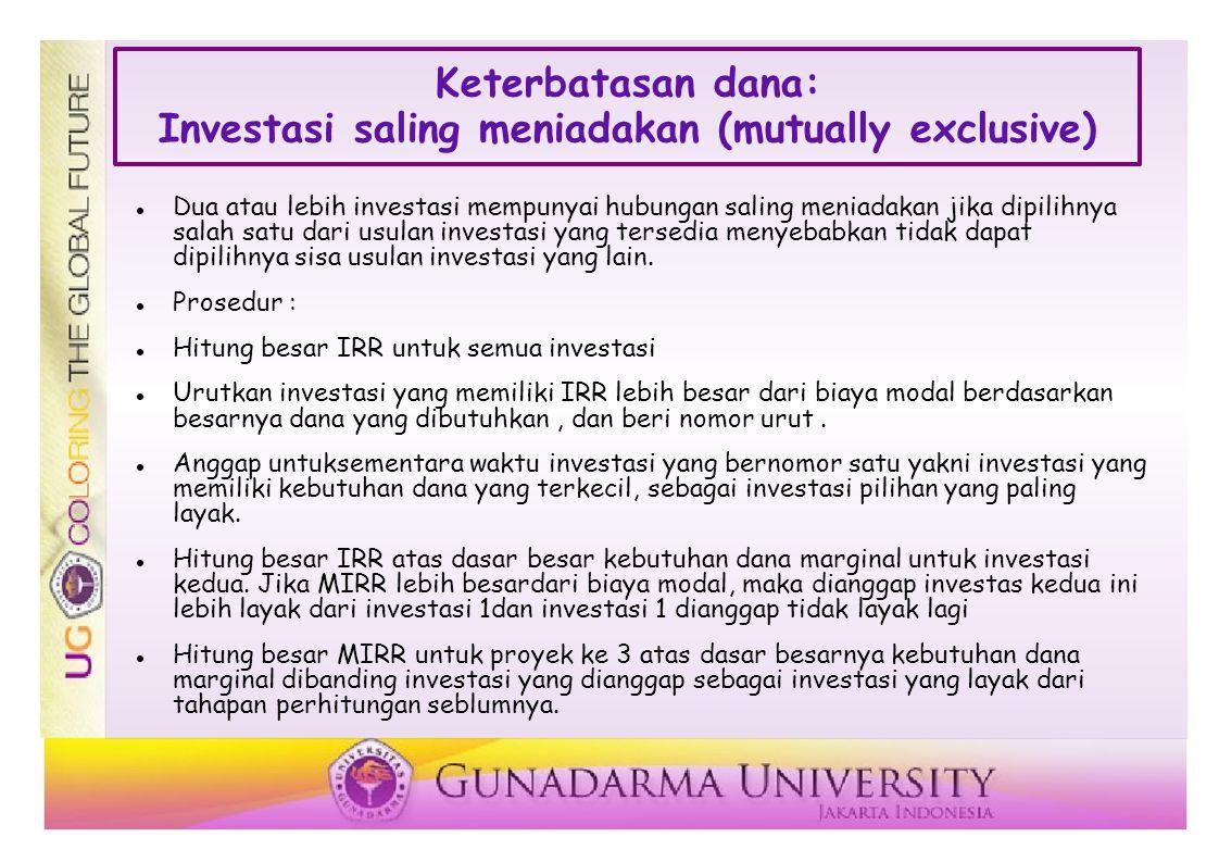 Keterbatasan dana: Investasi saling meniadakan (mutually exclusive)