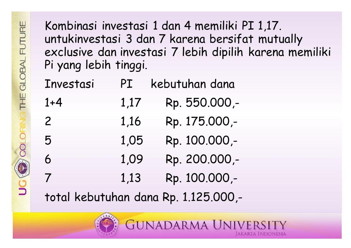 Kombinasi investasi 1 dan 4 memiliki PI 1,17