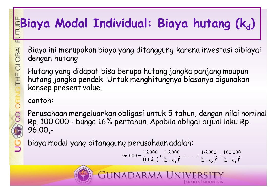 Biaya Modal Individual: Biaya hutang (kd)