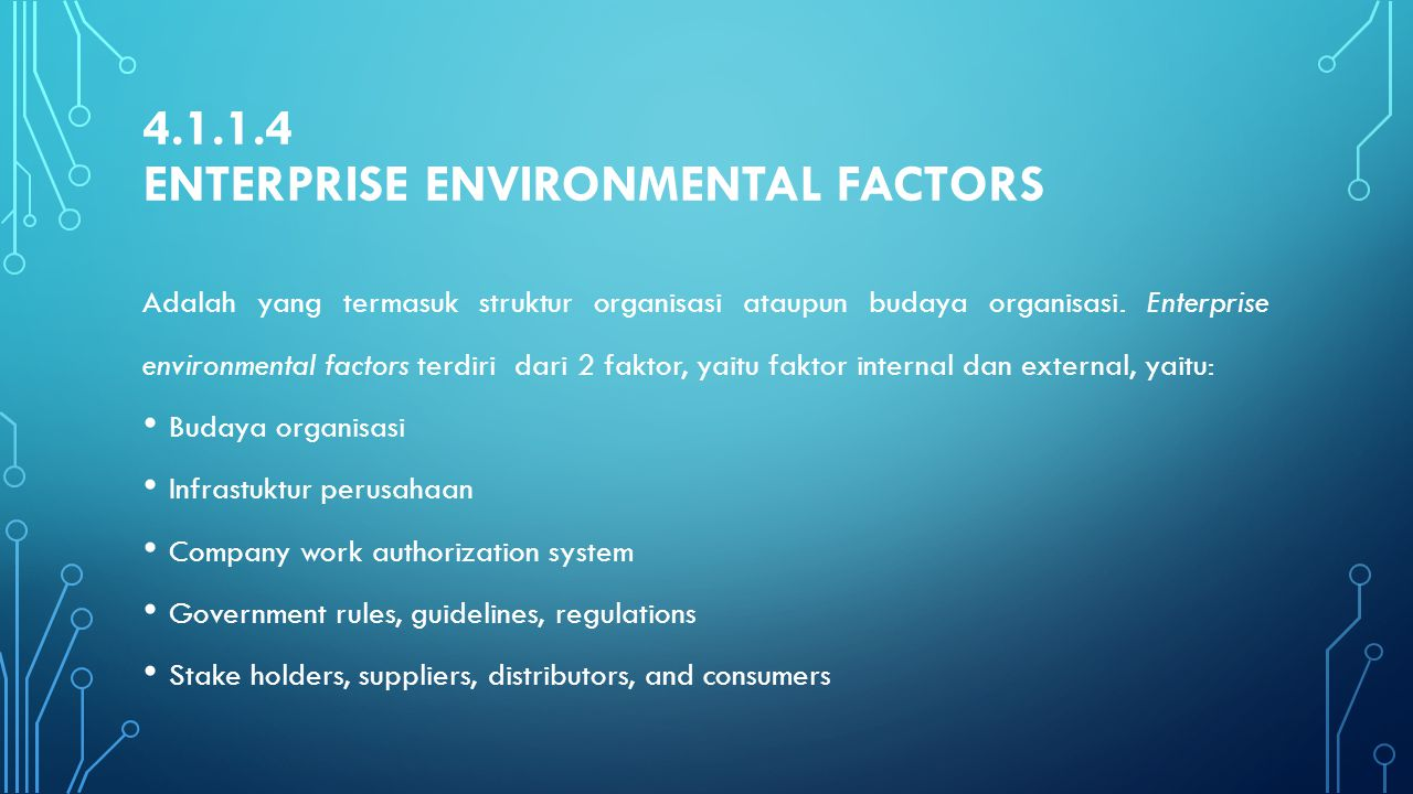 4.1.1.4 Enterprise environmental factors