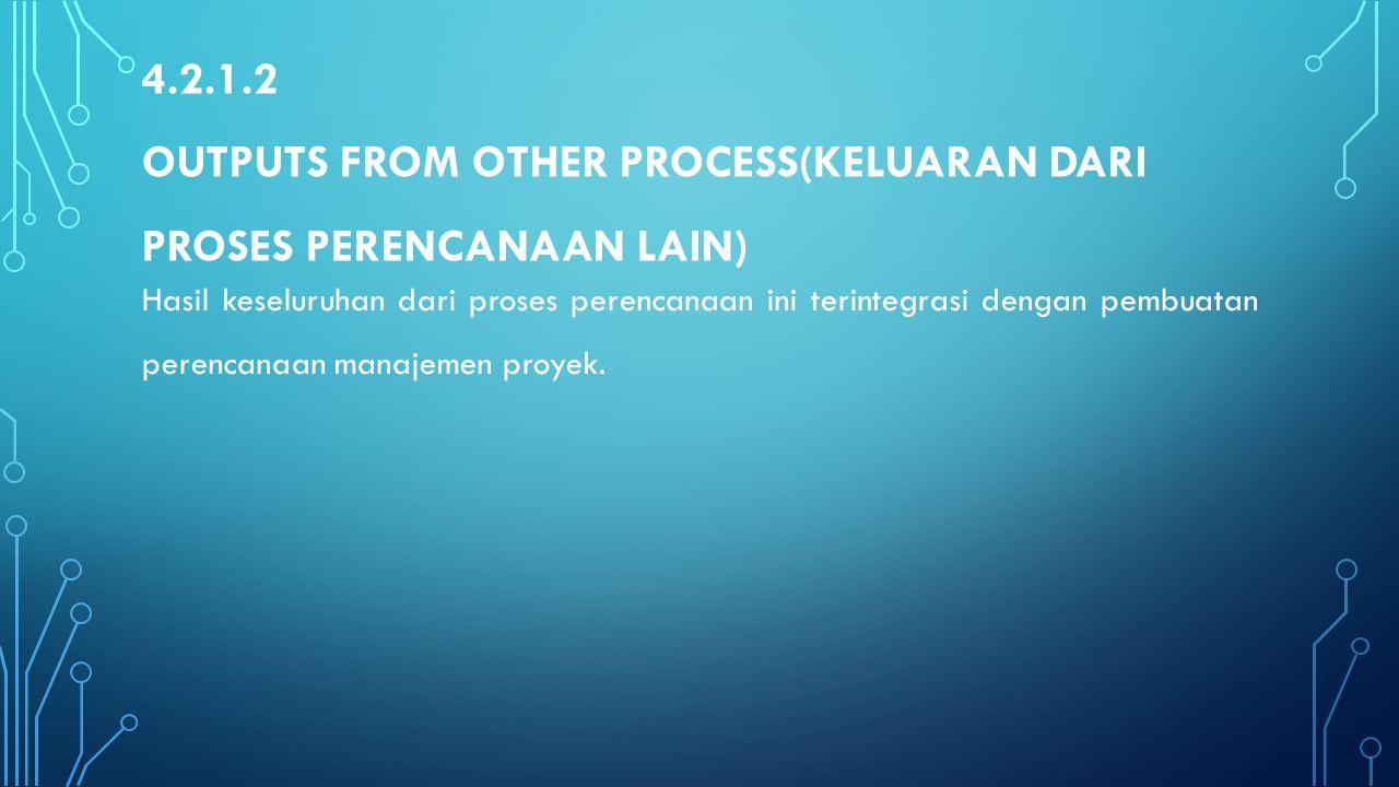 4.2.1.2 Outputs from Other Process(Keluaran dari proses perencanaan lain)