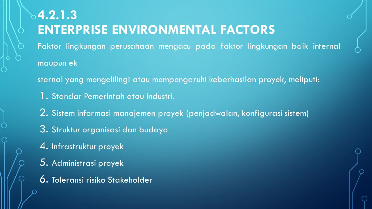 4.2.1.3 Enterprise Environmental Factors