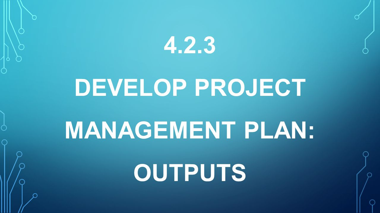 4.2.3 DEVELOP PROJECT MANAGEMENT PLAN: OUTPUTS