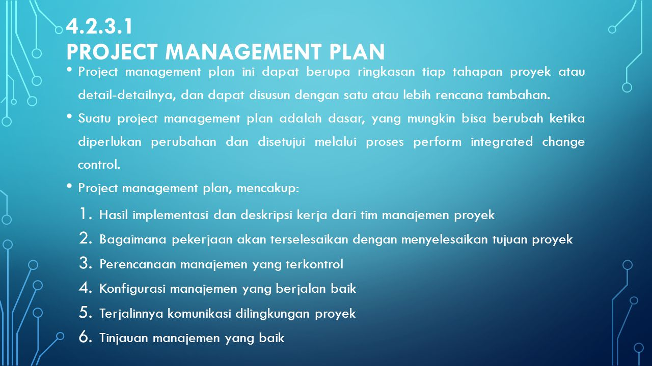 4.2.3.1 Project management plan