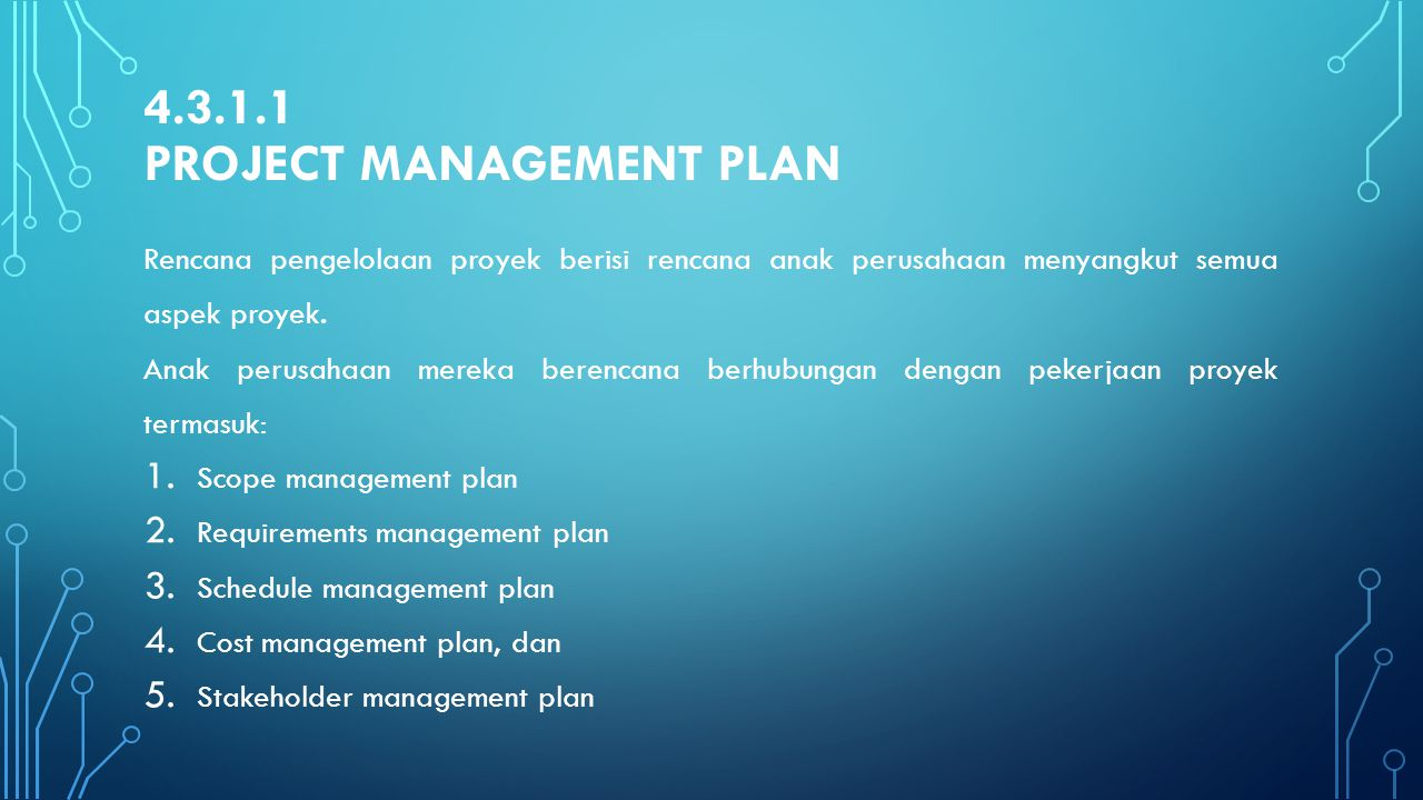 4.3.1.1 Project management Plan