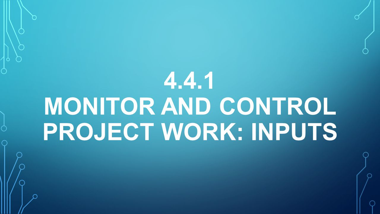4.4.1 Monitor and Control Project Work: inputS