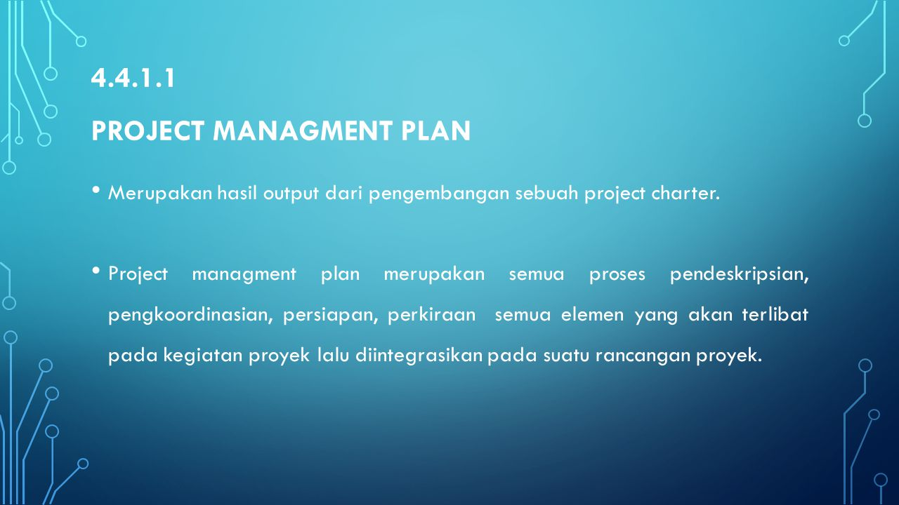 4.4.1.1 Project managment plan