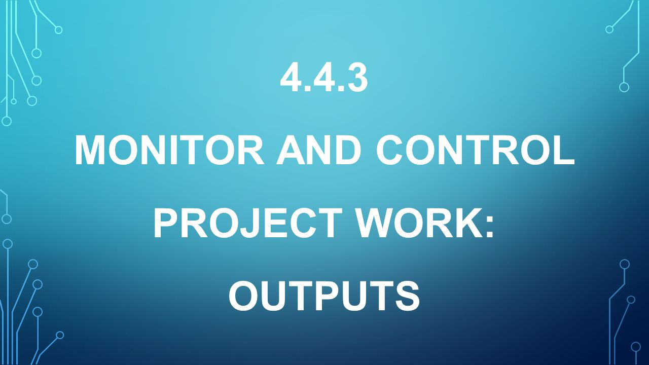 4.4.3 MONITOR AND CONTROL PROJECT WORK: OUTPUTS