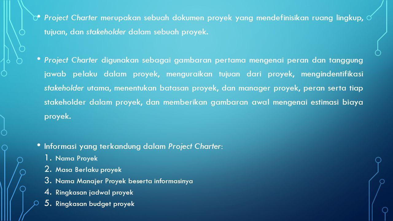 Informasi yang terkandung dalam Project Charter: