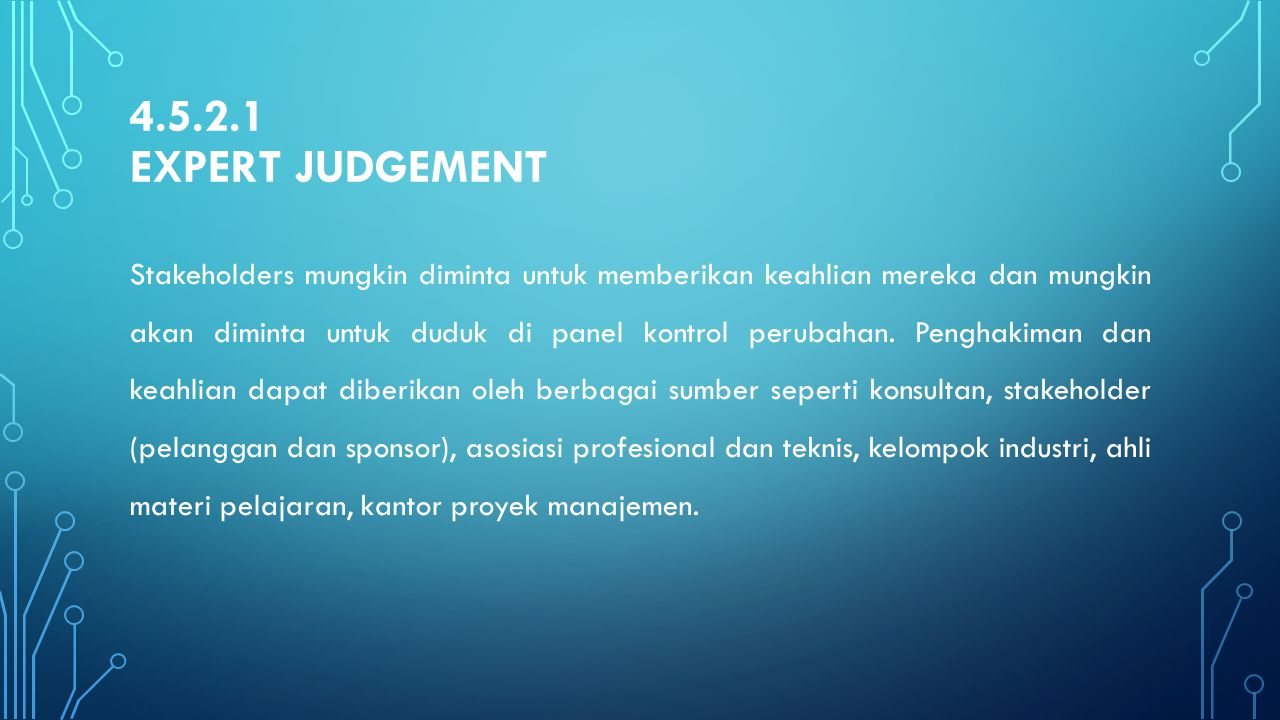 4.5.2.1 Expert Judgement