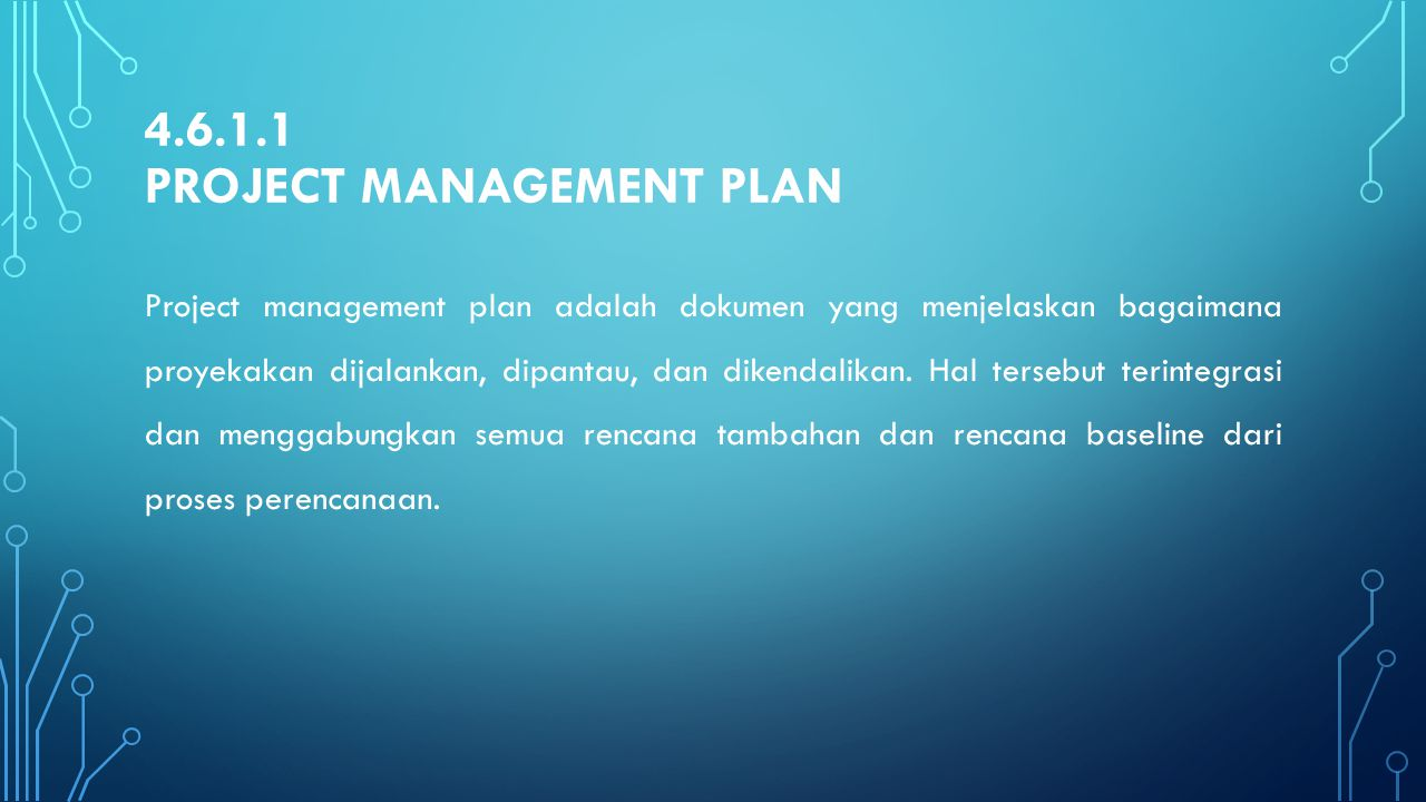 4.6.1.1 Project management plan