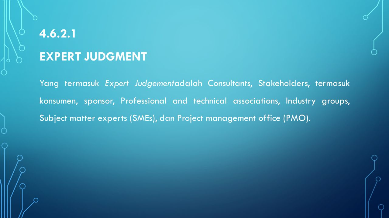 4.6.2.1 Expert Judgment