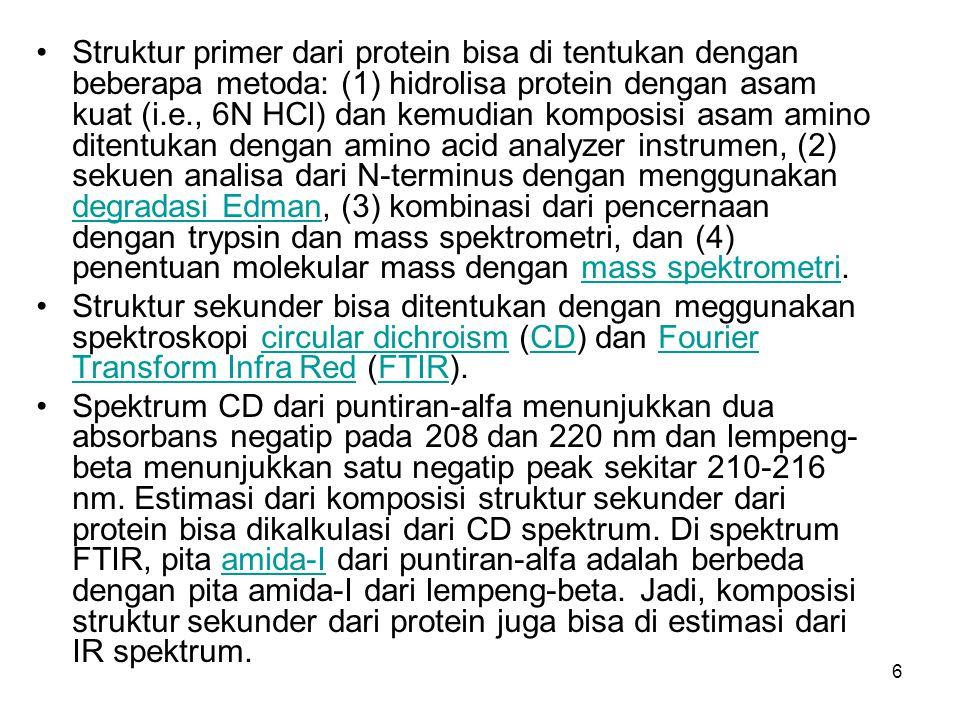 Struktur primer dari protein bisa di tentukan dengan beberapa metoda: (1) hidrolisa protein dengan asam kuat (i.e., 6N HCl) dan kemudian komposisi asam amino ditentukan dengan amino acid analyzer instrumen, (2) sekuen analisa dari N-terminus dengan menggunakan degradasi Edman, (3) kombinasi dari pencernaan dengan trypsin dan mass spektrometri, dan (4) penentuan molekular mass dengan mass spektrometri.