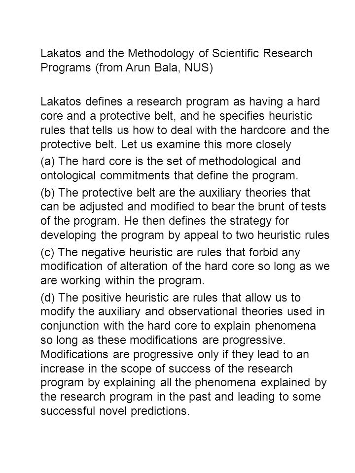 Lakatos and the Methodology of Scientific Research Programs (from Arun Bala, NUS)