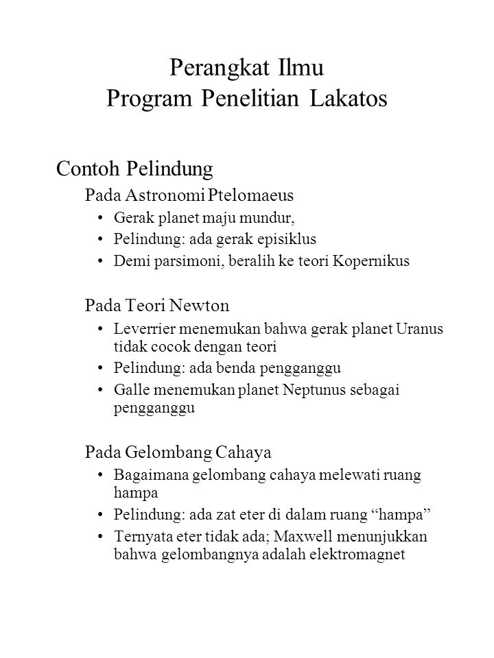 Perangkat Ilmu Program Penelitian Lakatos