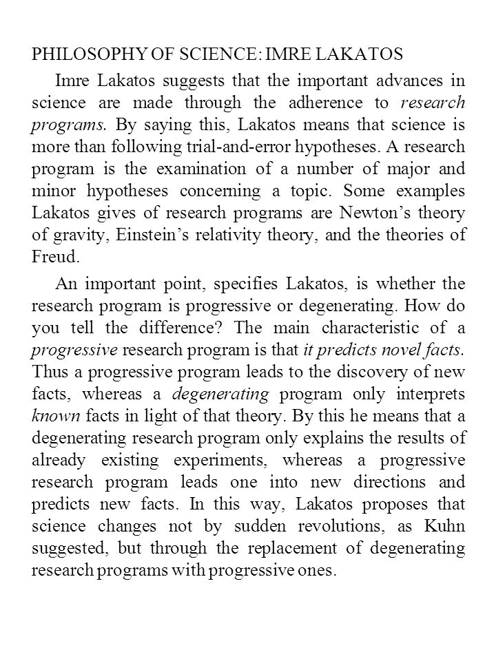 PHILOSOPHY OF SCIENCE: IMRE LAKATOS