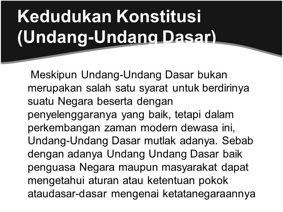 Kedudukan Konstitusi (Undang-Undang Dasar)