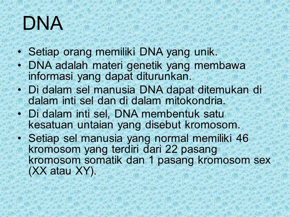 DNA Setiap orang memiliki DNA yang unik.