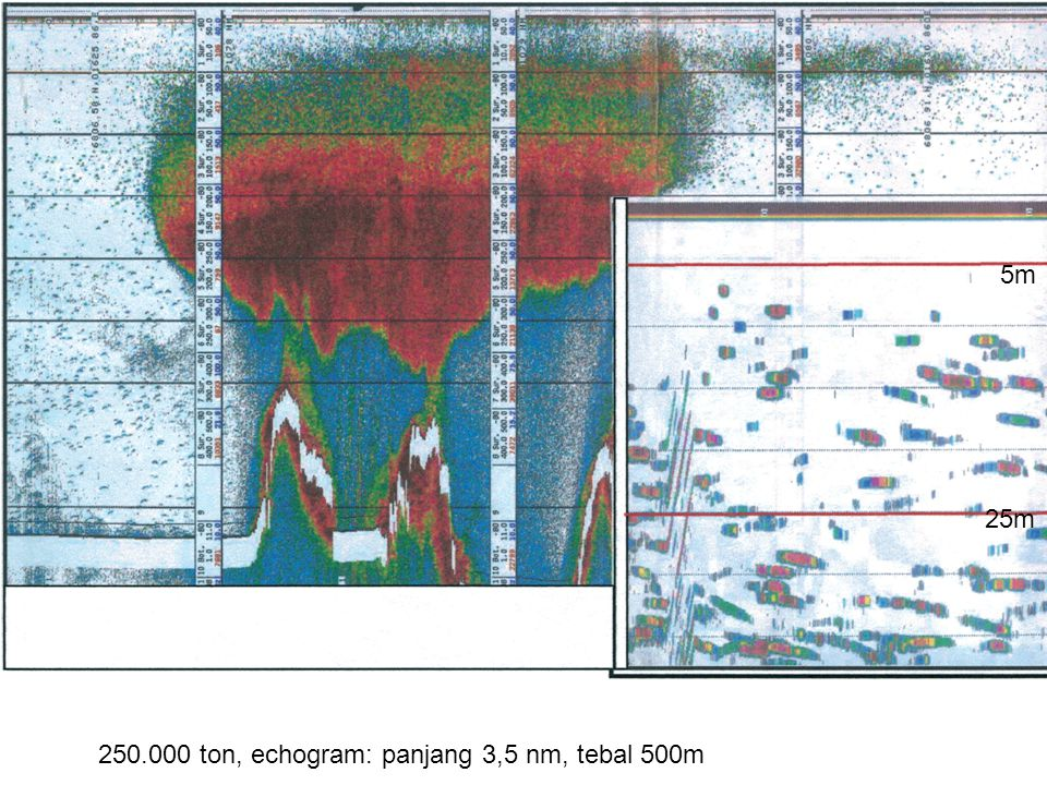 5m 25m 250.000 ton, echogram: panjang 3,5 nm, tebal 500m