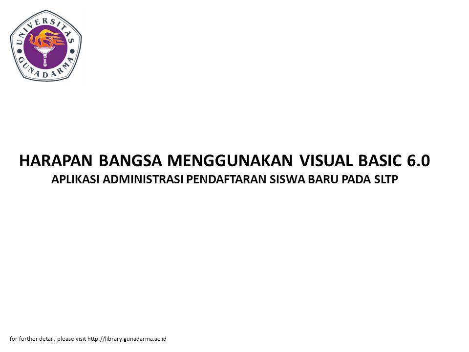 HARAPAN BANGSA MENGGUNAKAN VISUAL BASIC 6