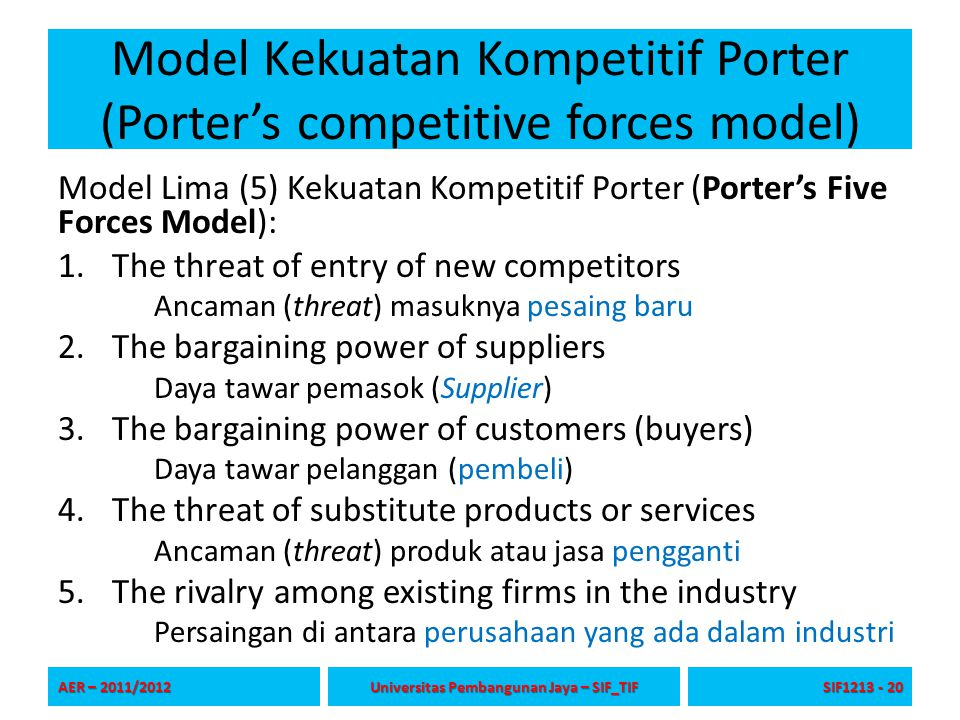 Model Kekuatan Kompetitif Porter (Porter's competitive forces model)